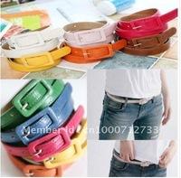 Women thin belt side the Scalp buckle waist chain candy colored fashion belt