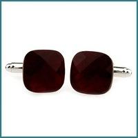 High-Quality New Design Cufflinks With Dark Red Crystal, Fashion Jewelry Cufflinks, Novelty Cufflinks, Free Shipping