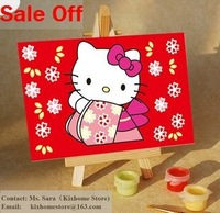 DIY hello kitty cat Mini hand painted Oil Paintings by Digital Numeral, Kids Educational Toys paint a lovely cats by ourself