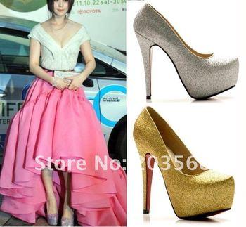 Fashion Shiny Lady Platform Pump Women Stiletto Shining High Heels Shoes 2 Color