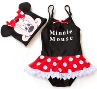 Wholesale 5sets/lot High quality Cover- ups Baby Swimwear Kids' swimsuit for girl Black  Mickey Mouse ETYY12 Free Shipping