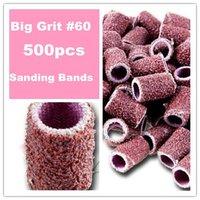 Free Shipping - 500 pieces 60 Degree Nail Art Drill Sanding Bands /Nail Drill Polishing Wheel