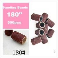 Free Shipping - 500 pieces 180 Degree Nail Art Drill Sanding Bands /Nail Drill Polishing Wheel