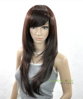 High-temperature wire wig with long straight square face lovely fluffy repair face