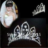 Stunning Fashion Bridal Rhinestone Peacock Pattern Crown Hair Comb Pin Tiara Free ShippingLKT0002