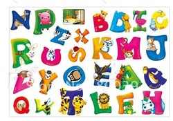 Best seller!PVC Alphabet wall stickers,1 piece order, Children Cartoon stickers,free shipping,help baby to learn letters(China (Mainland))
