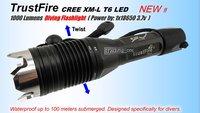 Free shipping sale TrustFire Diving 100m CREE XML XM-L T6 LED 1000 Lm Flashlight Torch Waterproof Tr-J1 SET