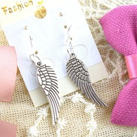 Hot!!Free Shipping retro fashion Tibetan silver Wing earrings 18 pairs Factory outlets