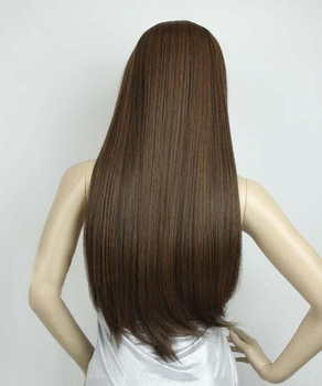 Silky straight,26 inch 160g  Indian Blended Remy Human Hair full  wig #2t30 light brown ,free shipping