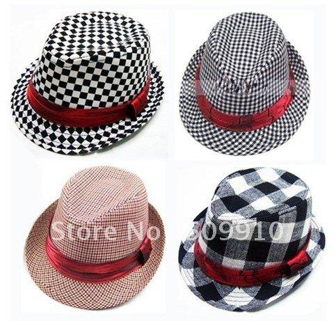 Children checked fedora hat, baby antumn canvas top hat, kids jazz cap, kids fedoras, baby hat cap, kids dicer free shipping(China (Mainland))