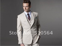 Wholesale - Custom made Men Fashion cream-coloured fit suit Three-piece Suit ( jacket + pant + vest )