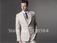 Wholesale - Custom made Men Fashion cream-coloured fit suit Three-piece Suit ( jacket + pant + vest )