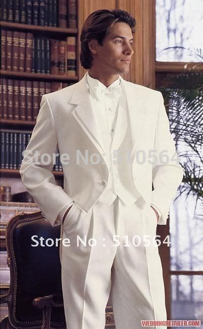 Wholesale White Groom swallowtail Best men Suit Wedding Groomsman