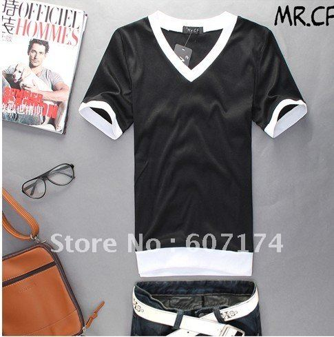 PROMOTION&RETAIL,2012 New Korea men summer V Neck T-shirt,casual T shirt,6 colors,Asian:M-XXL,#0943(China (Mainland))