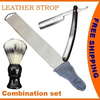 SHAVING SET STRAIGHT CUT THROAT SALON SHAVING RAZOR + CANVAS STROP + SHAVING BRUSH