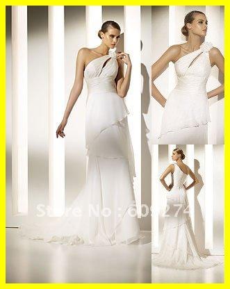 Designer Dress Sale on Designer 2012 Hot Sale One Shoulder White Beach Wedding Dresses