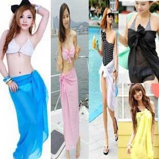 Bikini Girl Silhouette on Dhl Free Wholesale Striped Prints Chiffon Sarong White Black Cover Ups