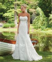 Free shipping ET-19 Elegant Sweetheart Sleeveless Beading Lace Write/Ivory Wedding Dress Custom-made