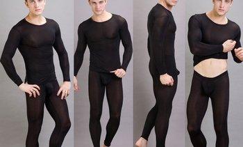 Black N2N Men's Pouch Underwear Leggings Pants Smooth Material (Pants Only)