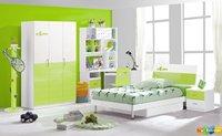 4 Pcs New Full Size Bedroom Set MDF Panels Children Furniture,Bookcase ,Bed, Nightstand ,Wardrobe