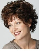 Stylish short curl brown women's synthetic hair wig  Free Shipping
