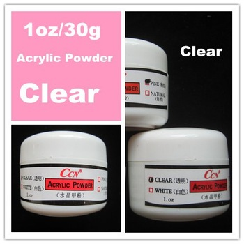 Free Shipping Clear Colour 30g/Pot Acrylic Powder for 3D Nail /French Manicure Nail Art Tips