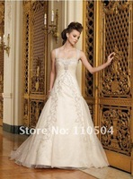 Irresistible A-line off-shoulder lace Embroidery antique wedding dresses for bridal