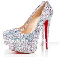 New Silver sequins Upper Hidden Platform 160mm High Heels Pumps Shoes euro 35-41