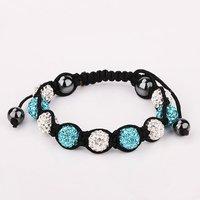 Браслет из бисера SBB050# Shamballa Bracelets, 3 Micro Pave CZ Disco Bead weaven bracelet