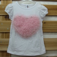 Wholesale 5pcs/lot  children t shirts, girls tops summer 2013 PINK heart lace girls blouse