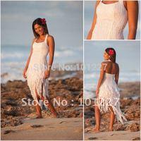 Free Shipping Stylish A-Line Halter Chiffon Beadings Open Back Zipper Beach Wedding Dress--SMT123