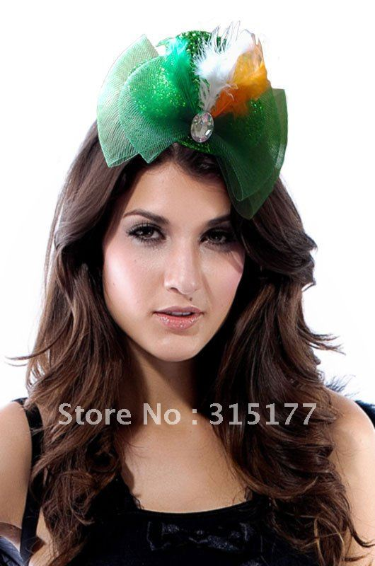 Free shipping Green Mini Top Hat With Tricolor Feathers Women Headwear Wholesale 50pcs/lot Headband Party Accessories 70367(China (Mainland))