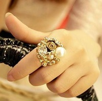 Hot!Promotions!Fashionable Alloy imitation pearls ring 15PCS