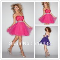 Free Shipping RG-10 Elegant Sweetheart Tulle Crystal Beaded Short Prom Dress Cocktail Dress Custom-made