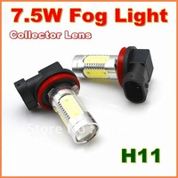 New 7.5W  Super Bright  H11  LED Fog Lamp with Collector Lens  Aluminum housing  LED Auto Lamp   free shipping  (01010701)