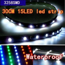 Wholesale 50pcs/lot White 30cm 15LED 3528SMD LED Car Light Strip /waterproof light strip free shippign EMS or DHL(China (Mainland))