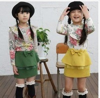 wholesale 2012 new arrival Girls skirt,Korean candy colored double waist skirt,4pcs/lot