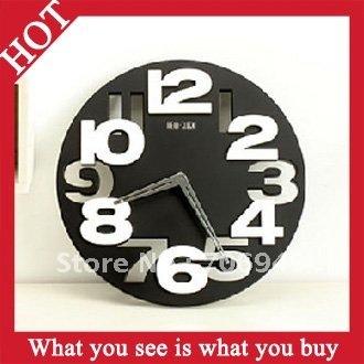 Free Shipping 1pc Black ABS Art Coloc Creative 3D Digital Wall Clock Hollow Quit Movement Clock -- CLK02 Wholesale