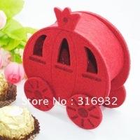 M1 New arrival,Nonwoven fabric cute pumpkin carriage wedding favor box