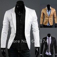 2014 New Tasting&High quality men Modern single Breasted skinny suit jacket,casual Chic suit blazer,3 colors,Asian:M-XL,#0956