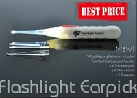 FREE SHIPPING,Flashlight Lighting LED Earpick curette,multi-fuction mini torch with Ear Wax Cleaner Device for personal care.