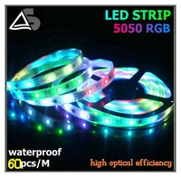 RGB 5050 5m 300 LEDs 60LEDs / Meter waterproof IP68 flexible RGB LED strip Light Lighting warranty 1 years CE RoHS free shipping