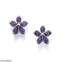 Wholesale small flower Ear stud, violet zirconia  925 silver earrings