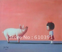 """Repro Contemporary chinese   big oil painting""""kill me"""" canvas 20""""x24"""" oriental art"""