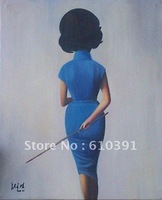 "Repro Contemporary chinese pop  big oil painting""girl teacher"" canvas 20""x24"" oriental asian art"