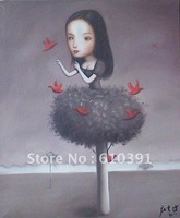 """Repro Contemporary chinese pop  big oil painting""""girl and birds"""" canvas 20""""x24"""" oriental asian art"""