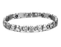 High Quality Titanium Women's Love Heart Magnetic Bracelet with Rhinestone CZ,Health Engery Bracelet,