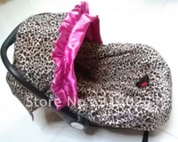 4pcs/lot baby car seat  cover leopard with hot pink infant with canopy+free shipping,soft