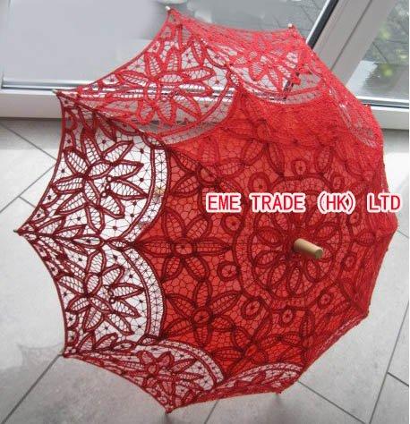 5 pçs/lote vermelho Wedding Lace Umbrella Bridal Fashion Party casamento Parasol favores H108r(Hong Kong)