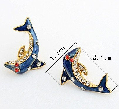 New arrival ! retro imitation diamond blue dolphin stud earrings.24pairs/lot.Free shipping!(China (Mainland))